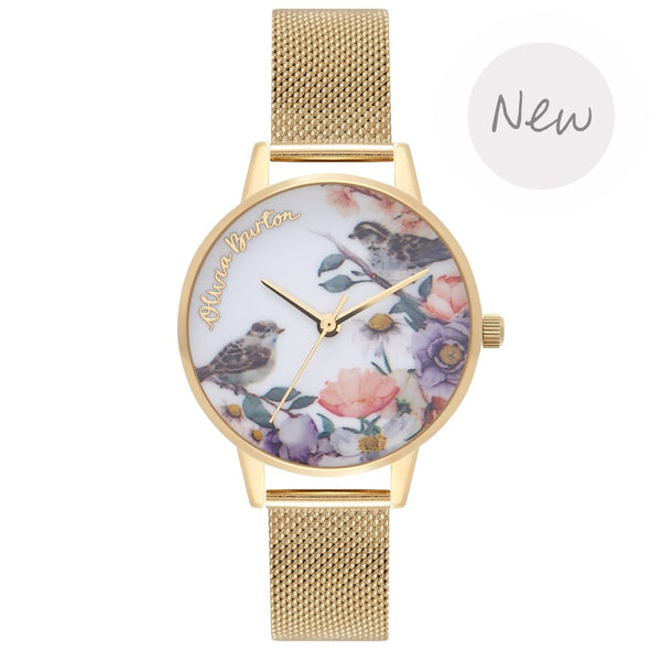 OLIVIA BURTON-Flower Show Gold Mesh-Watch-OB16ER12-THE UNIT STORE