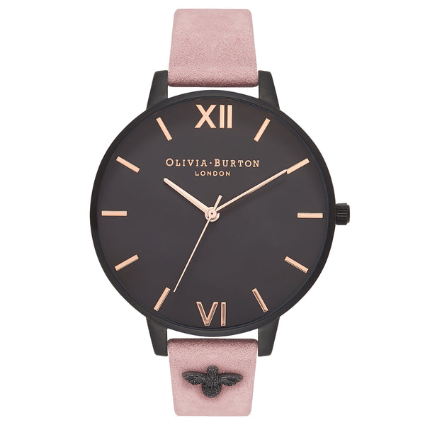OLIVIA BURTON-Embellished Strap Rose Suede & IP Black-Watch-OB16ES09-THE UNIT STORE