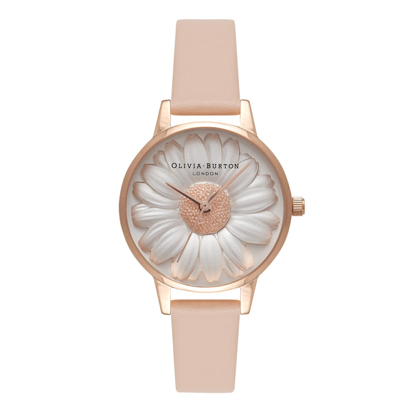 OLIVIA BURTON-Moulded Daisy Moulded Daisy Nude Peach & RG-Watch-OB16FS87-THE UNIT STORE