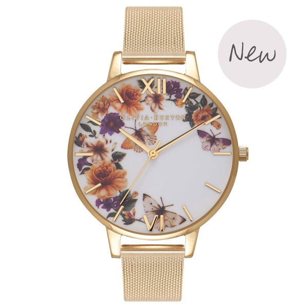 OLIVIA BURTON-Enchanted Garden Flower Festival Gold Mesh-Watch-OB16FS90-THE UNIT STORE
