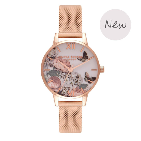OLIVIA BURTON-Enchanted Garden Midi Rose Gold Mesh-Watch-OB16FS91-THE UNIT STORE
