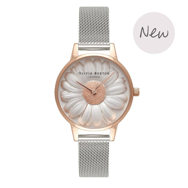 OLIVIA BURTON-Moulded Daisy Rose Gold & Silver Mesh-Watch-OB16FS94-THE UNIT STORE