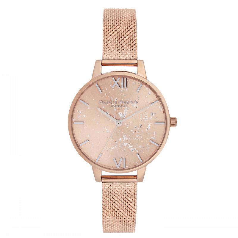 OLIVIA BURTON-Celestial Silver Glitter,Rose Gold Boucle Mesh-Watch-OB16GD12-THE UNIT STORE