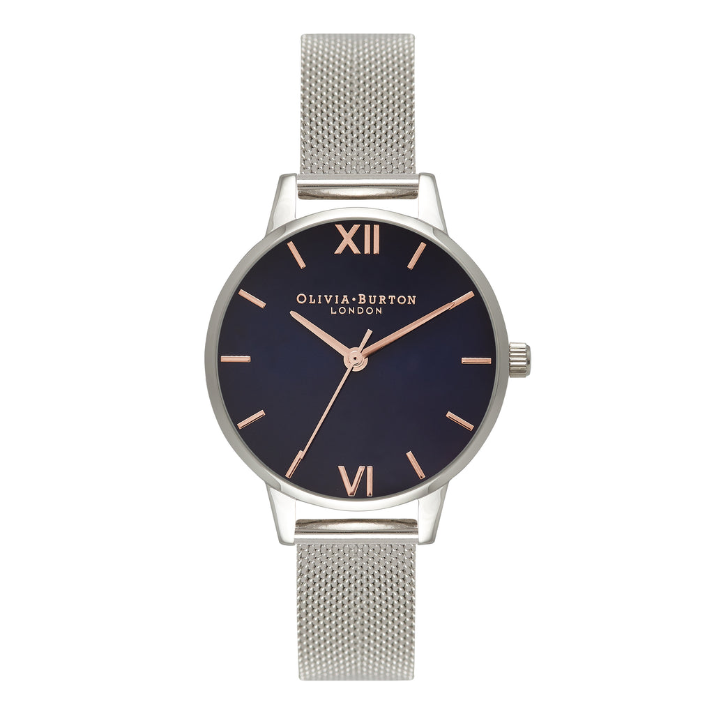 OLIVIA BURTON-In The Navy Navy Dial Silver Mesh-Watch-OB16MD71-THE UNIT STORE