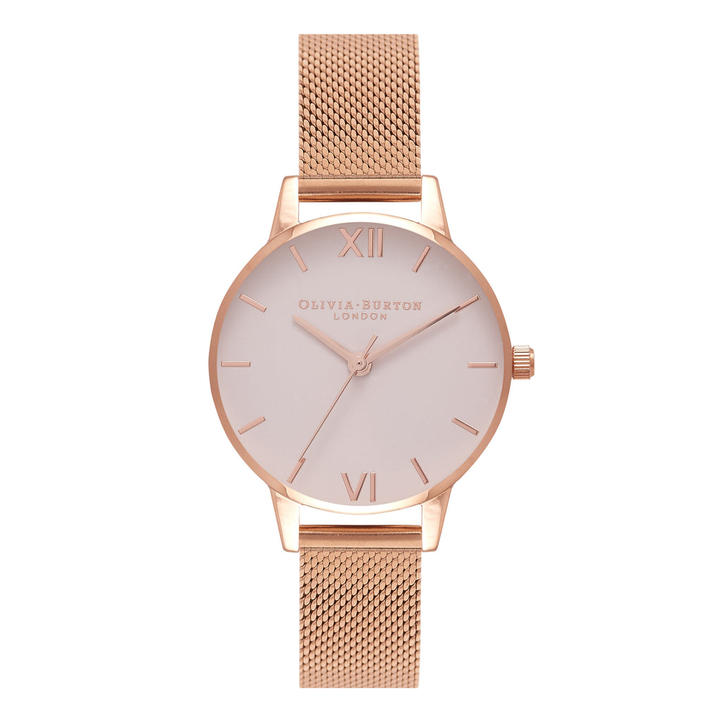 OLIVIA BURTON-Begin To Blush Blush Dial & RG Midi Mesh-Watch-OB16MD75-THE UNIT STORE