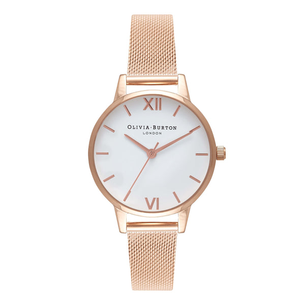 OLIVIA BURTON-White Dial Mesh Midi Rose Gold Mesh-Watch-OB16MDW01-THE UNIT STORE