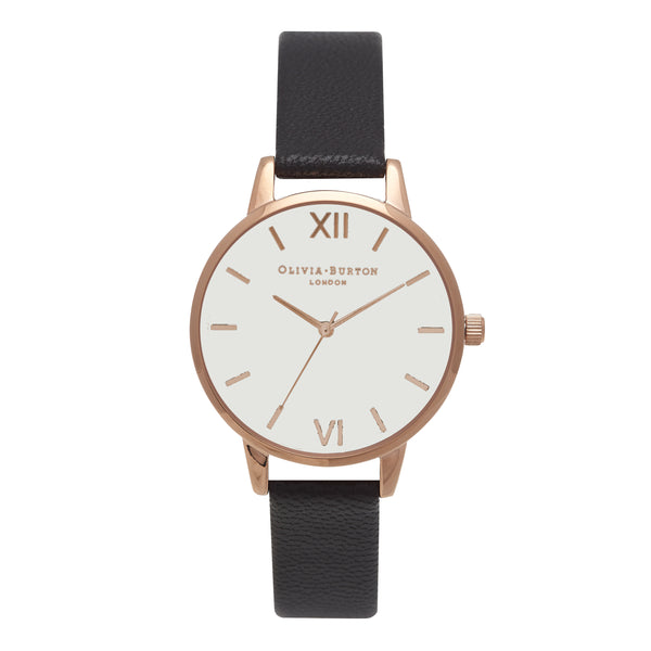 OLIVIA BURTON-White Dial Midi Dial Black & Rose Gold-Watch-OB16MDW07-THE UNIT STORE