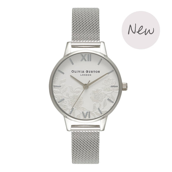 OLIVIA BURTON-Lace Detail Silver Mesh-Watch-OB16MV54-THE UNIT STORE