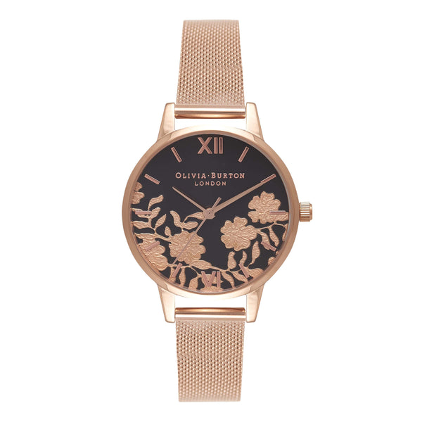 OLIVIA BURTON-Lace Detail Black Dial & Rose Gold Mesh Midi-Watch-OB16MV57-THE UNIT STORE