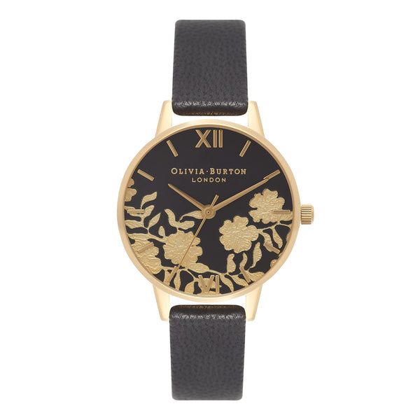 OLIVIA BURTON-Lace Detail Black & Gold Midi-Watch-OB16MV60-THE UNIT STORE