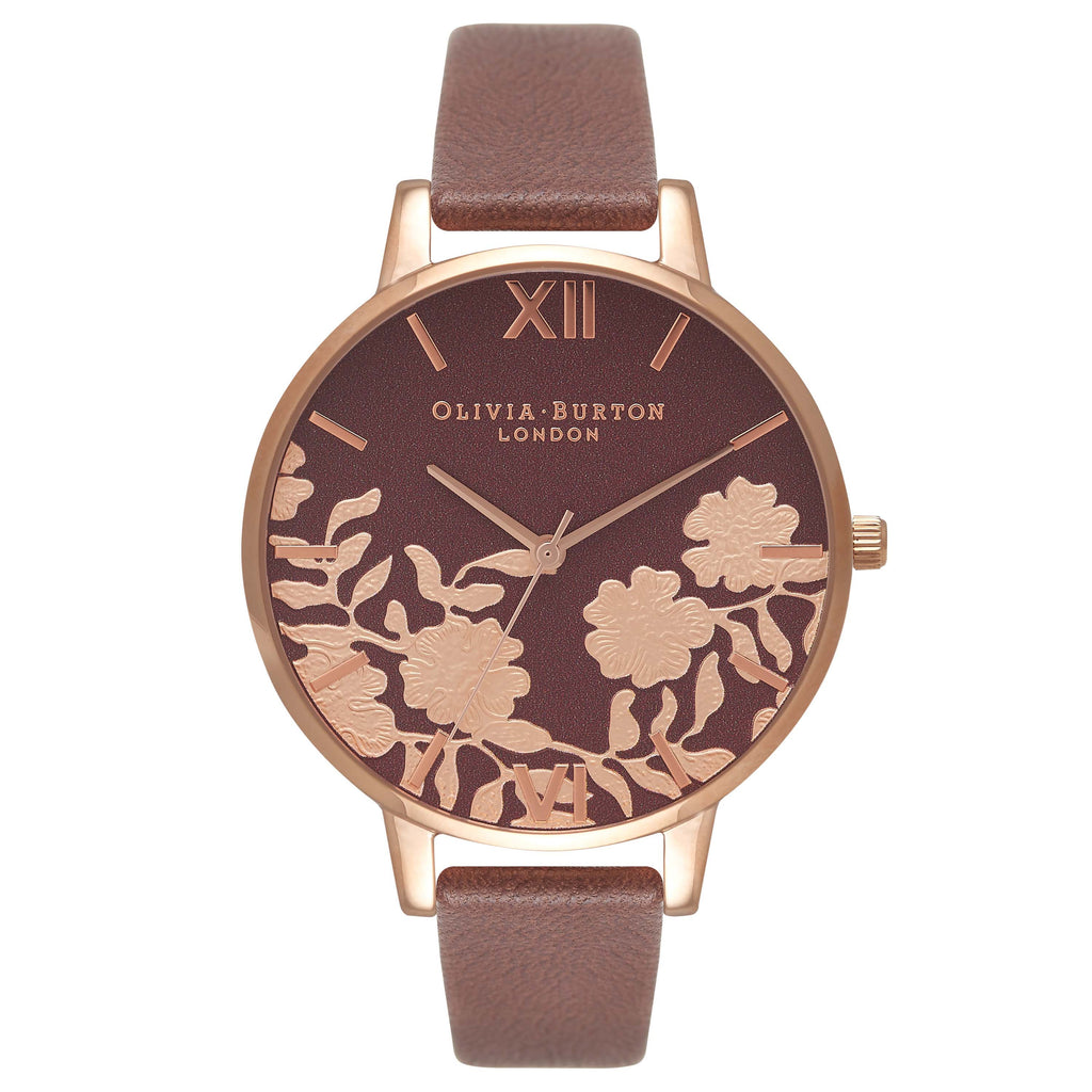 OLIVIA BURTON-Lace Detail Brown Dial & Rose Gold-Watch-OB16MV61-THE UNIT STORE
