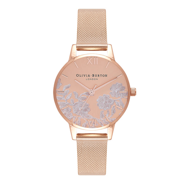 OLIVIA BURTON Lace Detail Small Dial Rose Gold Mesh OB16MV77