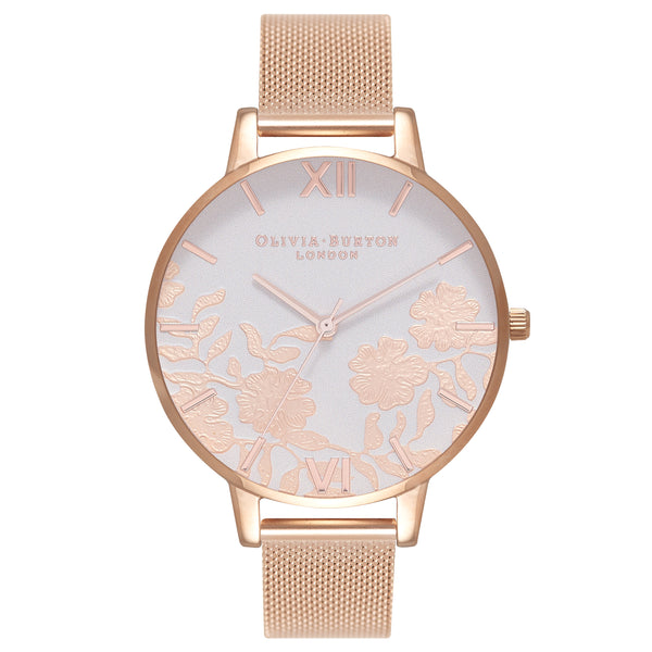 OLIVIA BURTON Lace Detail Big Dial Rose Gold Mesh OB16MV79