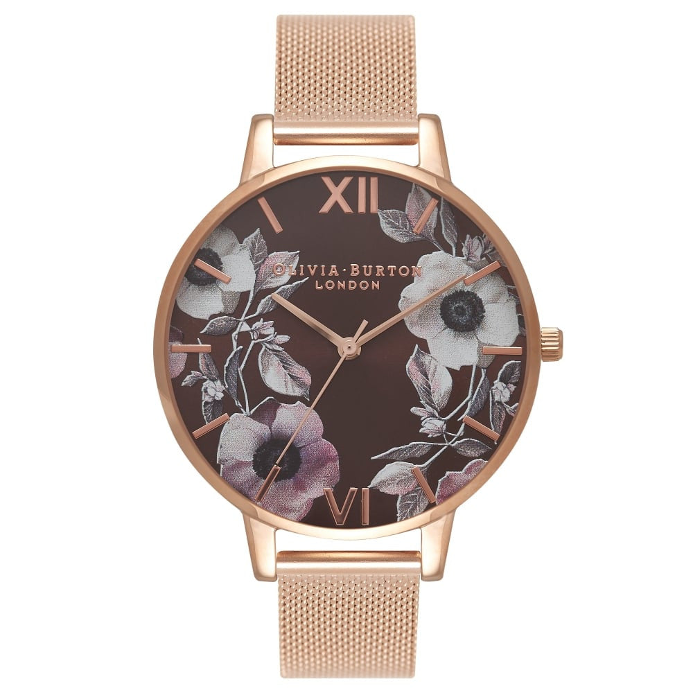 OLIVIA BURTON-Brown Dial Brown Dial, Rose Gold Floral Mesh-Watch-OB16PL26-THE UNIT STORE