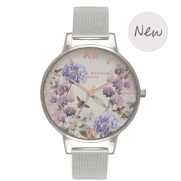 OLIVIA BURTON-Parlour Bee Floral Silver Mesh-Watch-OB16PL34-THE UNIT STORE