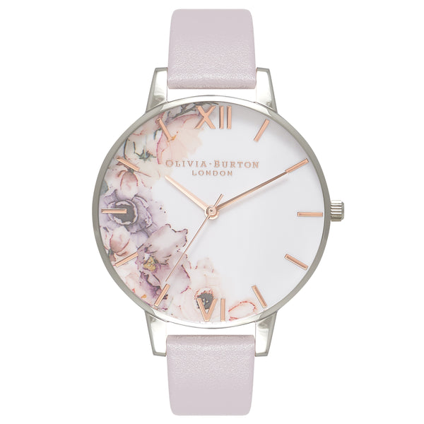 OLIVIA BURTON-Watercolour Florals Grey Lilac & Silver-Watch-OB16PP32-THE UNIT STORE