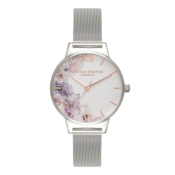 OLIVIA BURTON-Watercolour Florals Silver Mesh-Watch-OB16PP37-THE UNIT STORE