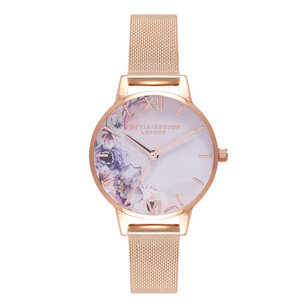 OLIVIA BURTON-Watercolour Florals Rose Gold Mesh-Watch-OB16PP39-THE UNIT STORE