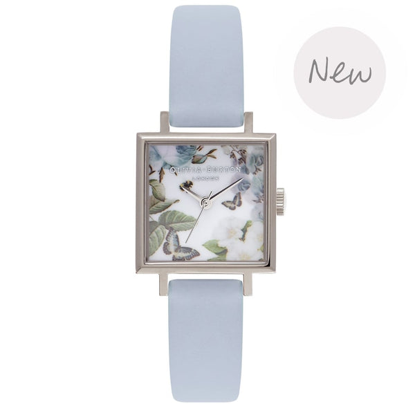 Enchanted Garden Midi Square Blue & Silver