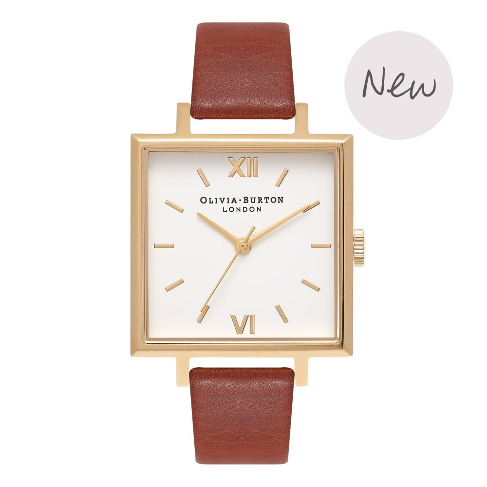 OLIVIA BURTON-Big Dial Square Dials Tan & Gold-Watch-OB16SS20-THE UNIT STORE