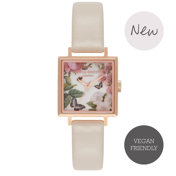 OLIVIA BURTON-Vegan Enchanted Garden Midi Square & Rose Gold-Watch-OB16VE05-THE UNIT STORE