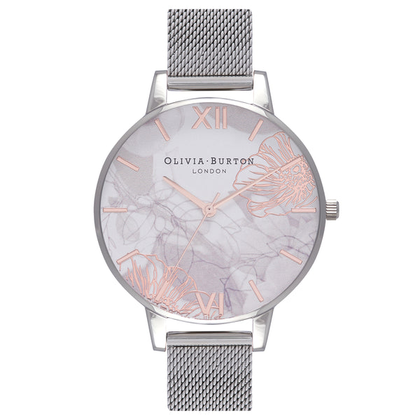 OLIVIA BURTON-Abstract Florals Silver Mesh-Watch-OB16VM20-THE UNIT STORE