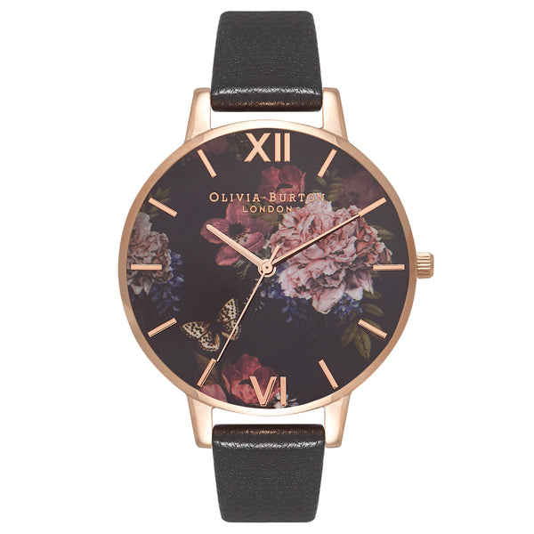 OLIVIA BURTON-Dark Bouquet Black & Rose Gold-Watch-OB16WG42-THE UNIT STORE