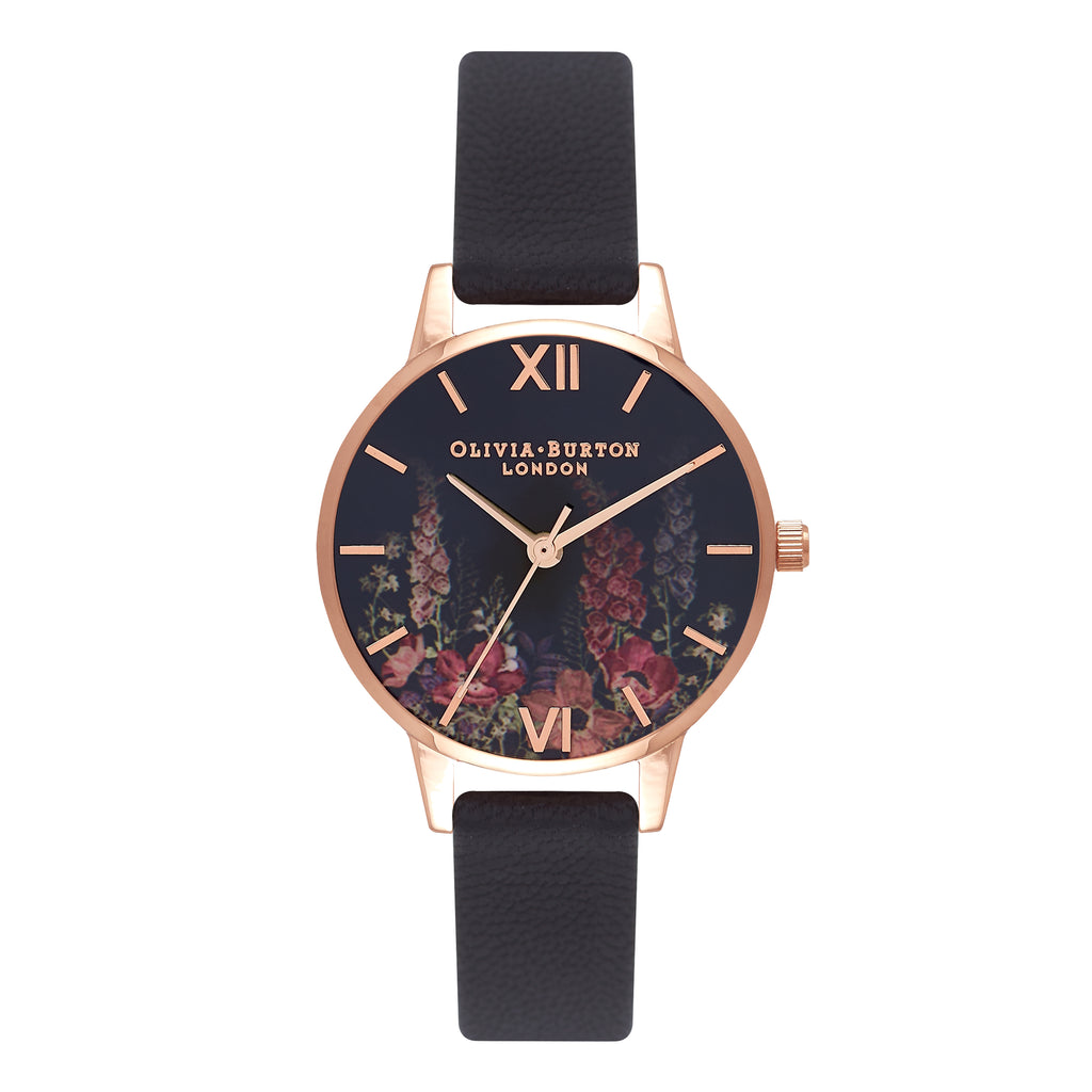 OLIVIA BURTON-Dark Bouquet Black & Rose Gold-Watch-OB16WG43-THE UNIT STORE