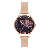 OLIVIA BURTON-Dark Bouquet Midi Rose Gold Mesh-Watch-OB16WG44-THE UNIT STORE