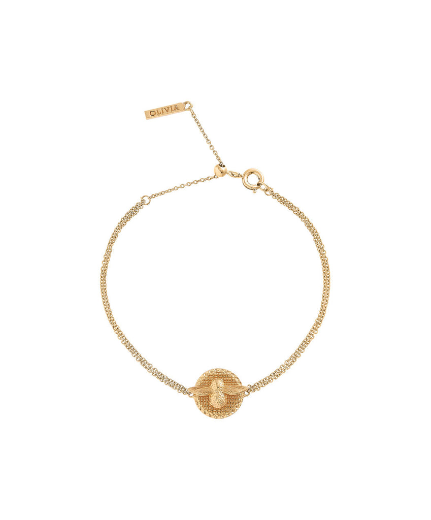 OLIVIA BURTON-3D Bee & Coin Chain Bracelet Gold-Jewellery-OBJ16AMB22-THE UNIT STORE