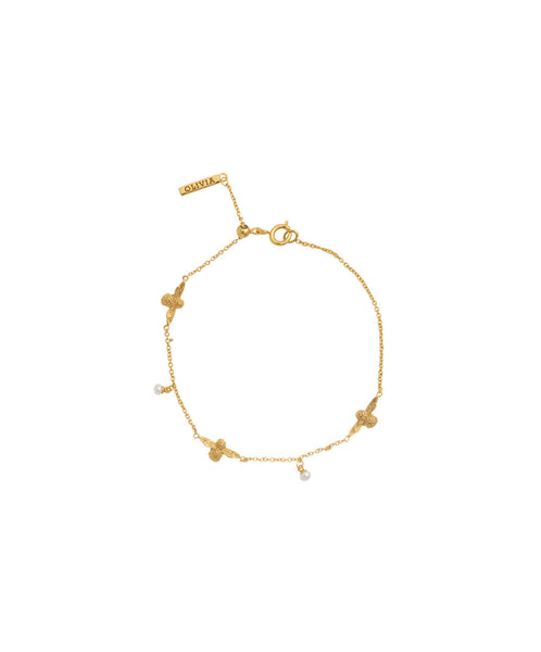 OLIVIA BURTON-Pearl Bee Bracelet Gold-Jewellery-OBJ16AMB40-THE UNIT STORE