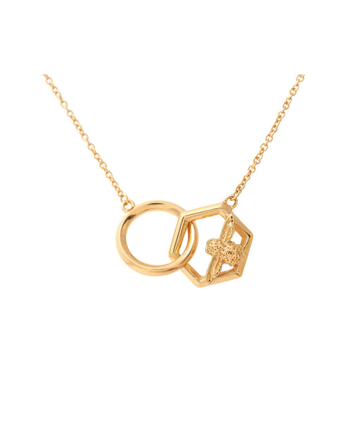 OLIVIA BURTON-Honeycomb Bee Necklace Gold-Jewellery-OBJ16AMN20-THE UNIT STORE