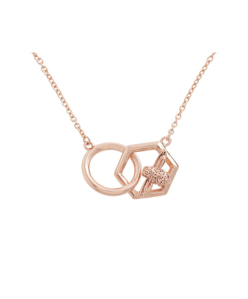 OLIVIA BURTON-Honeycomb Bee Bee Necklace Rose Gold-Jewellery-OBJ16AMN21-THE UNIT STORE
