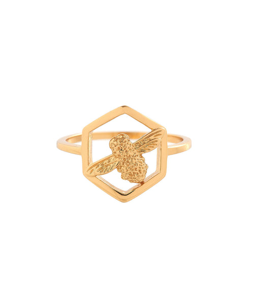 OLIVIA BURTON-Honeycomb Bee Ring Gold-Jewellery-OBJ16AMR05-THE UNIT STORE