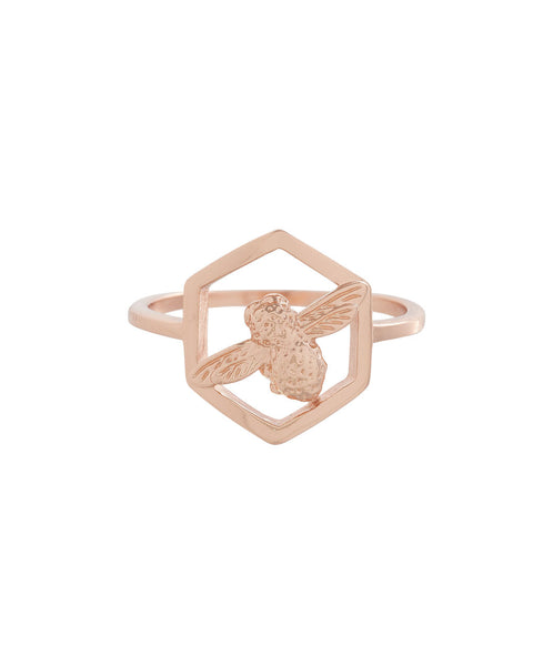 OLIVIA BURTON-Honeycomb Bee Ring Rose Gold-Jewellery-OBJ16AMR06-THE UNIT STORE