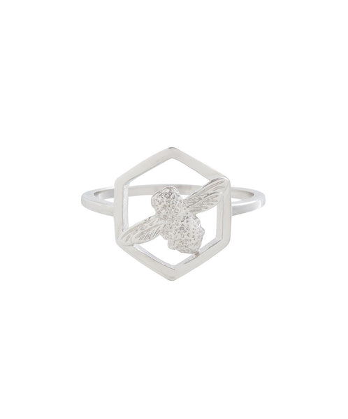 OLIVIA BURTON-Honeycomb Bee Ring Silver-Jewellery-OBJ16AMR07-THE UNIT STORE