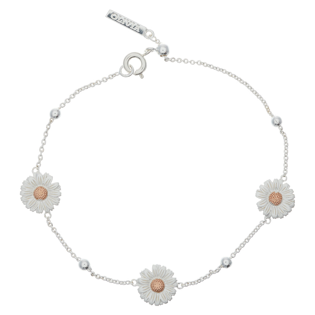 OLIVIA BURTON-Daisy And Ball Chain Bracelet Silver Rose Gold-Jewellery-OBJ16DAB02-THE UNIT STORE