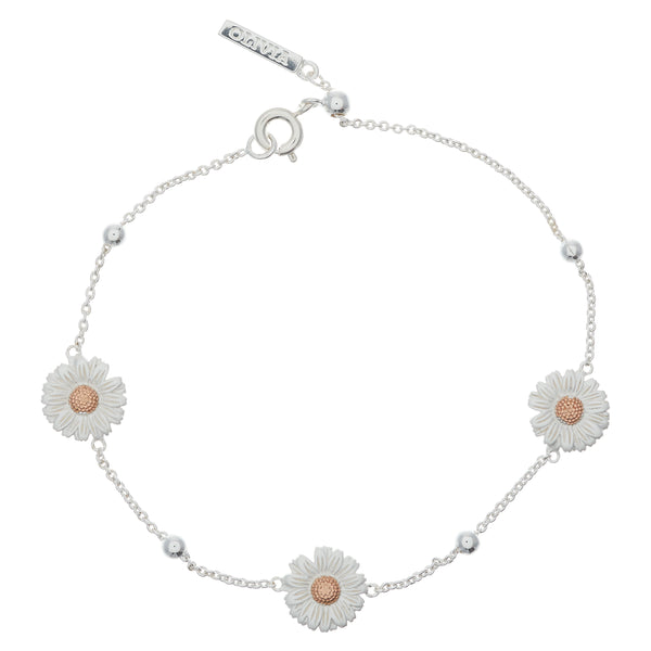 Daisy And Ball Chain Bracelet Silver Rose Gold