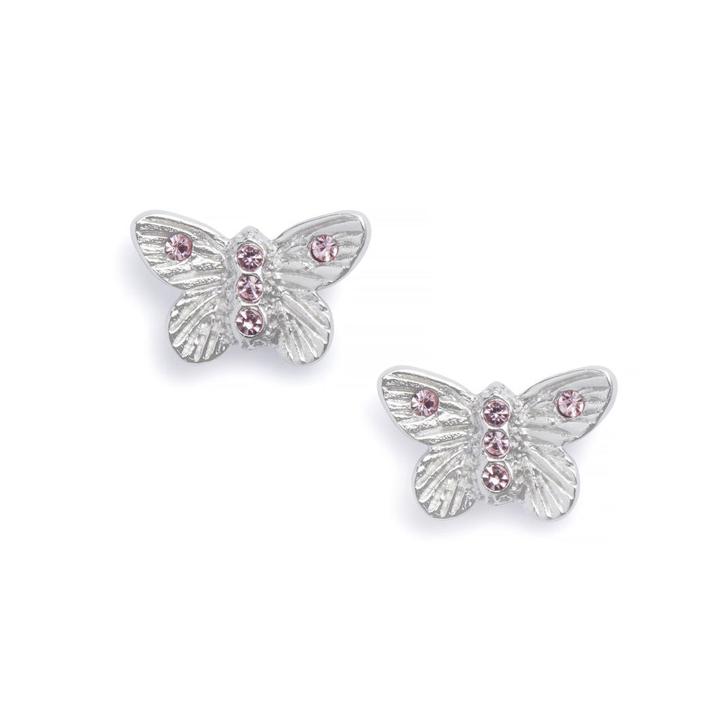 OLIVIA BURTON-B. Butterfly Earrings Silver & Pink Stone-Jewellery-OBJ16MBE08-THE UNIT STORE