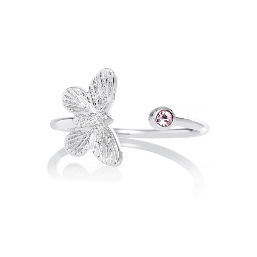 OLIVIA BURTON-B. Butterfly Ring Silver & Pink Stone-Jewellery-OBJ16MBR02-THE UNIT STORE