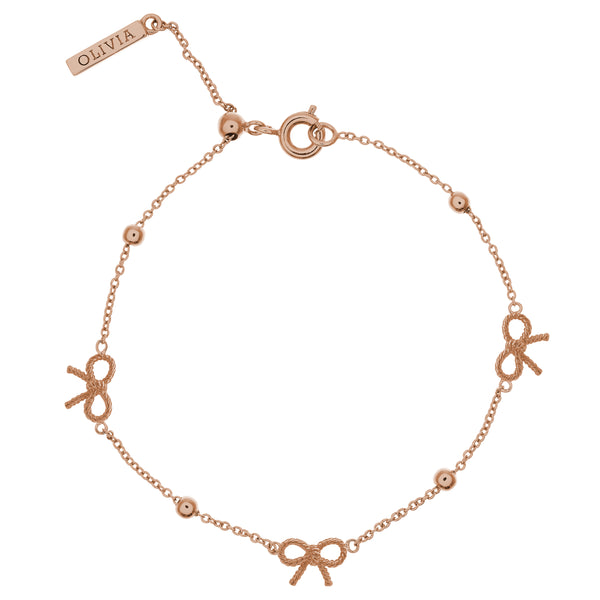 Vintage Bow And Ball Bracelet Rose Gold