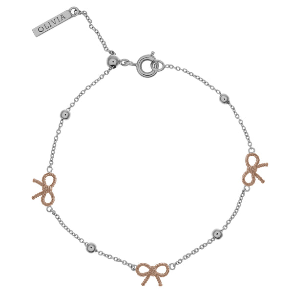 OLIVIA BURTON-Vintage Bow And Ball Bracelet Silver & Rose Gold-Jewellery-OBJ16VBB11-THE UNIT STORE