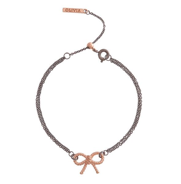 OLIVIA BURTON-Vintage Bow Chain Bracelet Black & Rose Gold-Jewellery-OBJ16VBB15-THE UNIT STORE
