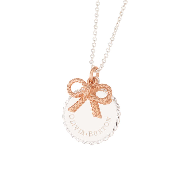 OLIVIA BURTON-Vintage Bow Coin And Bow Necklace Rose Gold & Silver-Jewellery-OBJ16VBN05-THE UNIT STORE