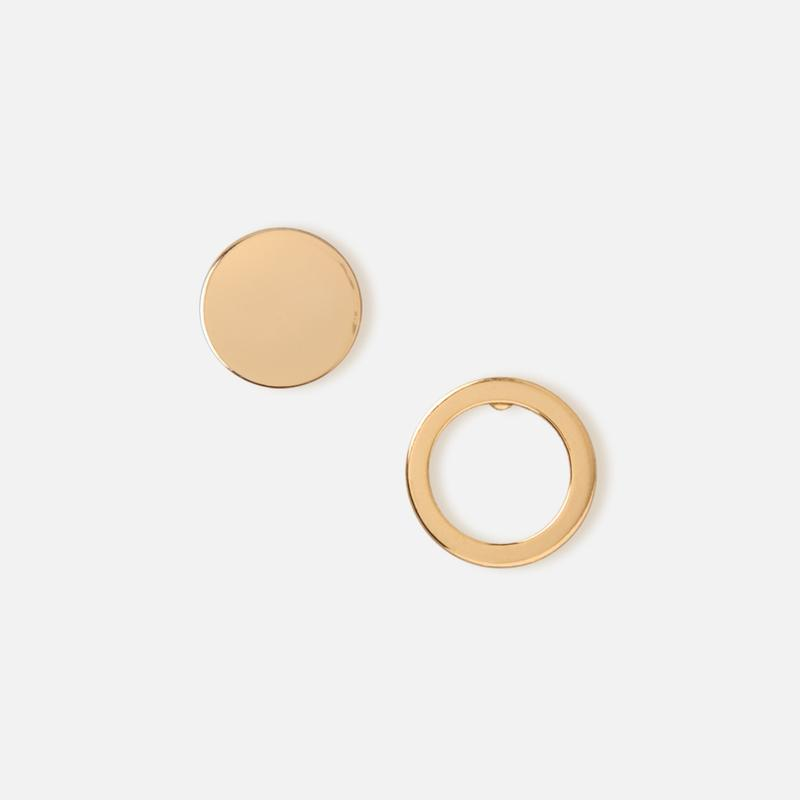 Orelia London-Pale Gold Open And Solid Circle Earrings-Jewellery-WU ORE22118-THE UNIT STORE