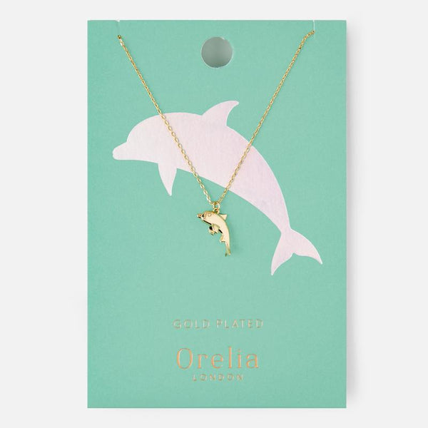 Orelia London-Pale Gold Dolphin Charm Neckace-Jewellery-WU ORE22747-THE UNIT STORE