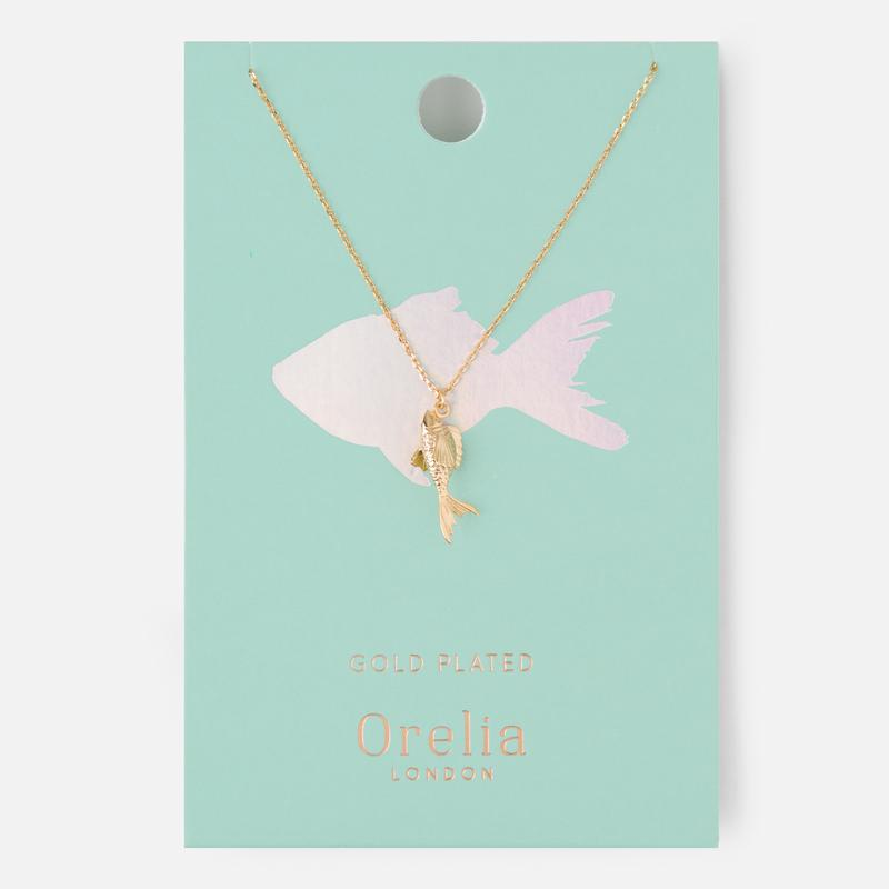 Orelia London-Pale Gold Fish Charm Necklace-Jewellery-WU ORE22750-THE UNIT STORE