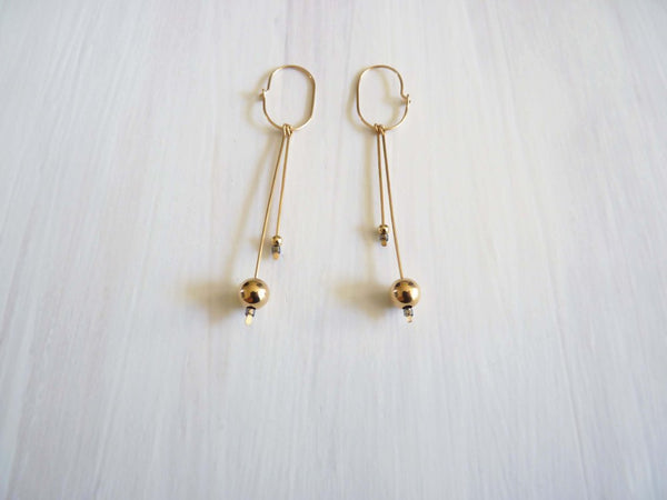 Cinq-Pendulum Earrings Gold-Jewellery-CI PD EAR GD-THE UNIT STORE