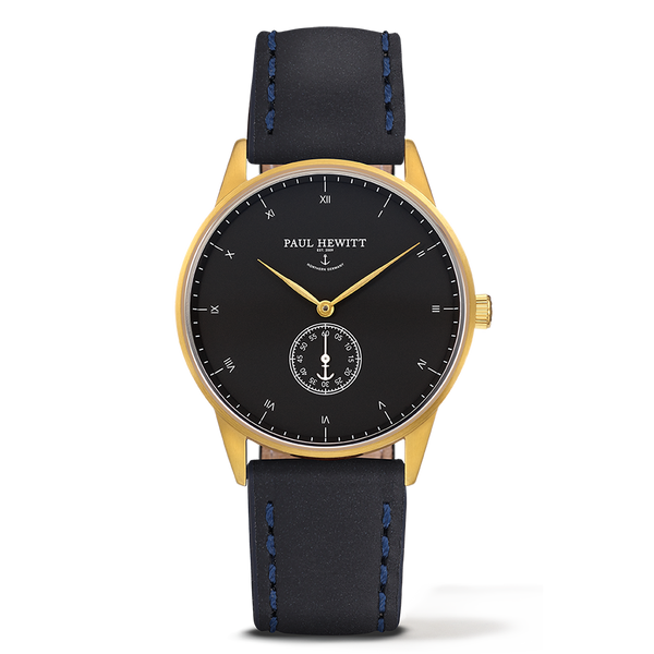 Watch Signature Line Black Sea IP Gold Leather Navy Blue 38mm