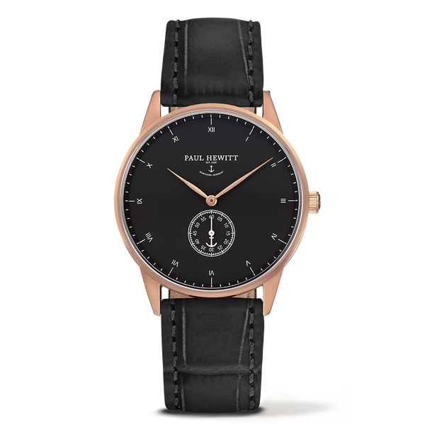 Watch Signature Line Black Sea IP Rose Gold Leather Embossed Black 38mm